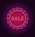 neon banner of red sale badge vector image
