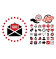 Open Mail Flat Icon with Bonus vector image