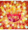 Orange Halloween background with colorful skulls vector image vector image