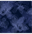 Orchid engraving seamless pattern vector image vector image