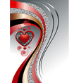 Pattern of hearts with bright curved strips on whi vector image vector image
