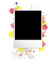 picture frame on splatter background vector image