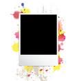 picture frame on splatter background vector image vector image