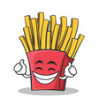 proud face french fries cartoon character vector image vector image
