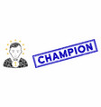 rectangle mosaic champion with textured champion vector image vector image