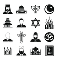 Religious symbol icons set simple style vector image vector image