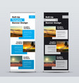 roll up banner with design photo squared and text vector image