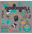 Science icons set on gray background vector image