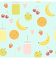 seamless pattern with smoothie jars and funny vector image vector image