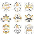 set of happy birthday templates for overlay badge vector image vector image