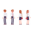 set of male and female clerk standing rear front vector image vector image