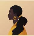 side portrait a beautiful black woman on beige vector image