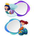 two border templates with cute mermaid vector image vector image