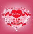 valentines day with red ribbon and heart on a pink vector image vector image