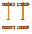 wooden camping sign vector image