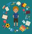 boy and different objects for school vector image
