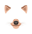 dog animal face filter template video chat photo vector image