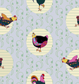 Seamless baby pattern with hen and cock vector image