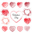 set of 13 hand drawn hearts vector image
