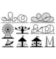 amusement park silhouette roller coaster festive vector image