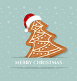 beautiful christmas card with gingerbread tree vector image vector image