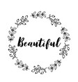 beautiful text flower wreath hand drawn laurel vector image vector image