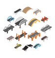 bridge set icons vector image vector image