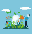 business man watering a light bulb - for concept vector image