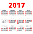 Calendar 2017 Week starts from Sunday flat design vector image vector image