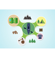 Camping and kayak graphic in round style outdoor vector image