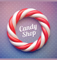 candy cane circle frame on polka dot background vector image vector image