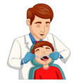 cartoon little boy having his teeth checked vector image