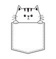 cat face in pocket holding hands doodle vector image vector image