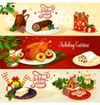 Christmas holiday cuisine banner for menu design vector image vector image