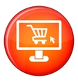 Computer monitor with shopping cart icon vector image vector image