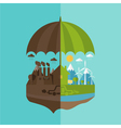 concept of umbrella and earth with icons of vector image vector image