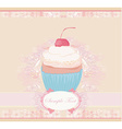 cupcake with cherry card vector image vector image