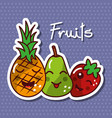 cute kawaii fruits set smiling healthy food vector image