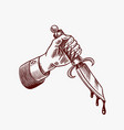 dagger in hand with blood for tattoo or label vector image vector image