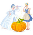 fairy godmother amp cinderella vector image vector image
