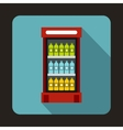 Fridge with refreshments drinks icon flat style vector image