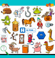 h is for words educational task for children vector image vector image
