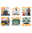 halloween ghost vampire witch and zombie icons vector image vector image