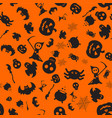 halloween orange pattern vector image vector image