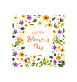 happy womens day card template with floral pattern vector image