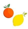 lemon orange citrus fruit icon bright art vector image