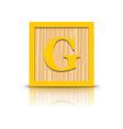 letter G wooden alphabet block vector image vector image