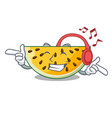 listening music a piece of a yellow watermelon vector image