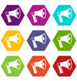 loudspeaker icon set color hexahedron vector image vector image