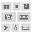 monochrome set with data storage icons vector image